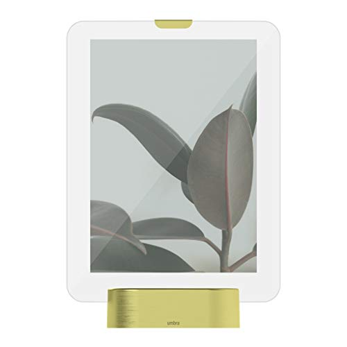 Umbra Glo, 5x7-Picture-Frame, Illuminated Glass-Photo Display, USB Powered with-LED Lights,-Matte Brass Base