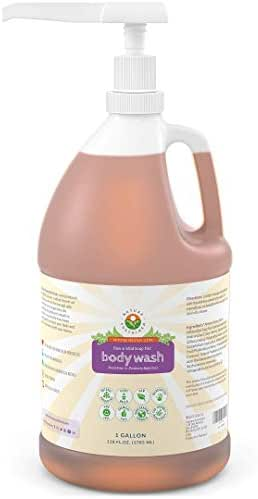 Organic Soapberry Body Wash (1 Gallon w/Pump) - Natural Acne Body Wash With Raw And Wild Plants for Sensitive And Dry Skin - Probiotics Shower Gel - Hypoallergenic And pH Balance