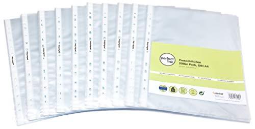 perfect line 200 fundas transparentes A4, láminas transparentes perfectas para proteger papeles y documentos: Amazon.es: Oficina y papelería