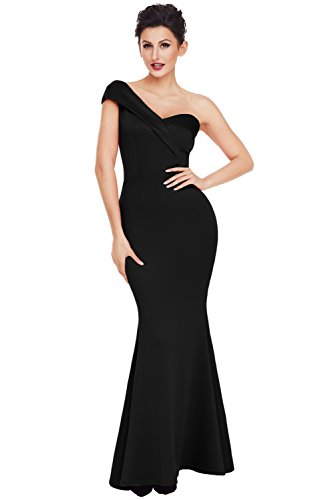 - Women's Black Sexy One Shoulder Mermaid Maxi Party Prom Dress Ponti Evening Gown Large