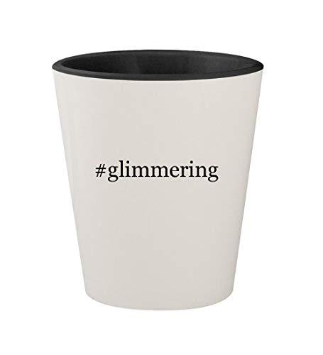 #glimmering - Ceramic Hashtag White Outer & Black Inner 1.5oz Shot Glass