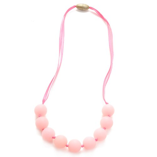 Chewbeads Juniorbeads Madison Necklace Teething Jewelry Soft on Infants Gums and Teeth 100% Safe Silicone Easily Cleaned, Dishwasher Safe Glow in The Dark Bubble Gum Pink