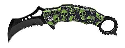 "Tarrkenn CPK3149SKC-GB Spring Assist Hook Folding Knife, Green/Black Skull, 4.5"""