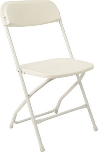 McCourt 41060 Series 5 Dining Height Stackable Folding Chair, Classic White Frame, Single, Classic White Seat/Back by McCourt