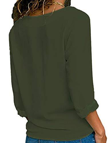 Col Chic Hauts Shirts lgant V Longue Chemise Femme Tunique Bouton Blouse Tops T Chemisier Mousseline Manche Vert Tee Classique Casual Soie de qRPIxU