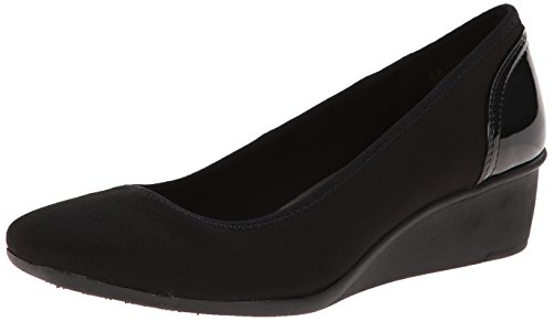 Anne Klein Sport Women's Wisher Fabric Wedge Pump, Black, 8 M US