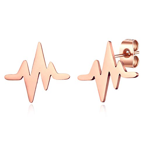ELBLUVF Stainless steel Rose Gold Plated Heart Beat Cardiogram Stud Earrings Jewelry for Women 3 colors