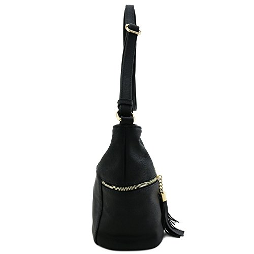 Black Double Crossbody Pocket Tassel Bag Zip Accented gzwnfqY