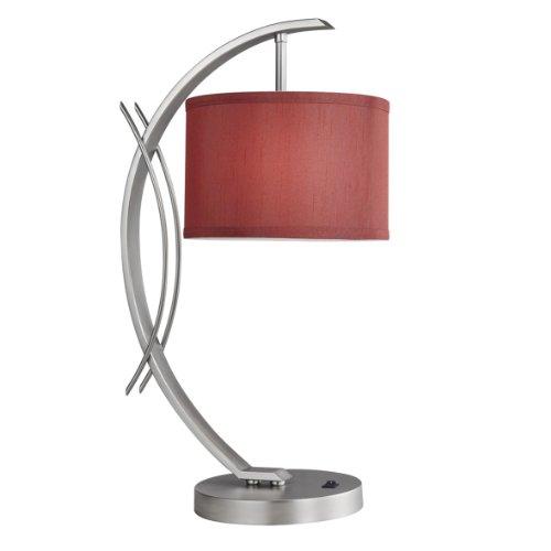 (Woodbridge Lighting 13481STN-S10803 Eclipse Satin Nickel Table Lamp, Maroon Shade, 7.5