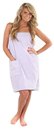 VEAMI Women's Spa Wrap Towel with Snap Closure -Sweet Boysenberry-Medium/Large