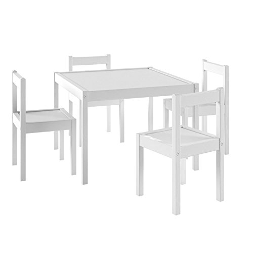 Kids White Desk Chair (Kids Table and Chairs Set White Wood Children's Set with 1 Square Table and 4 Chairs , Great for Playing , Learning ,)
