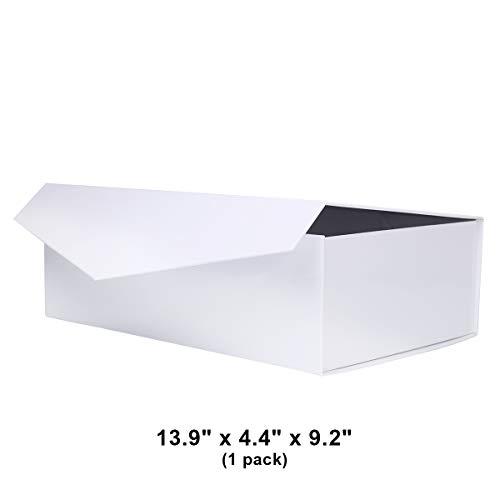 Large (13.9'' x 4.4'' x 9.2'') Gift Box Magnetic Closure Box Magnetic Closure Collapsible Gift Box Hamper Box Decorative Storage Box Decorative Boxes with Magnetic Closure (White, Pack of 1) by PACKHOME by PACKHOME