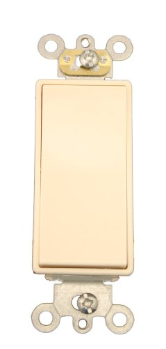 Leviton 5657-2T 15 Amp, 120/277 Volt AC Decora Plus Rocker, Single-Pole, Double Throw, Center OFF, Commercial Grade, Self Grounding, Light Almond - Leviton Decora Plus Double Throw