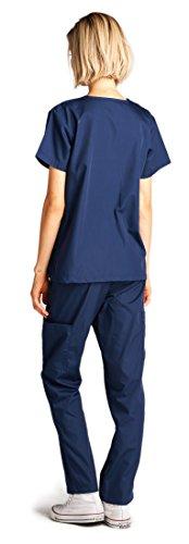 Dagacci Medical Uniform Woman and Man Scrub Set Unisex Medical Scrub Top and Pant, NAVY, M by Dagacci Medical Uniform (Image #2)