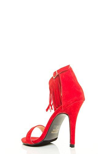 Chase & Chole Donna Open Toe Alta Frange Stiletto Con Cinturino Alla Caviglia Polsino Rosso Sandalo