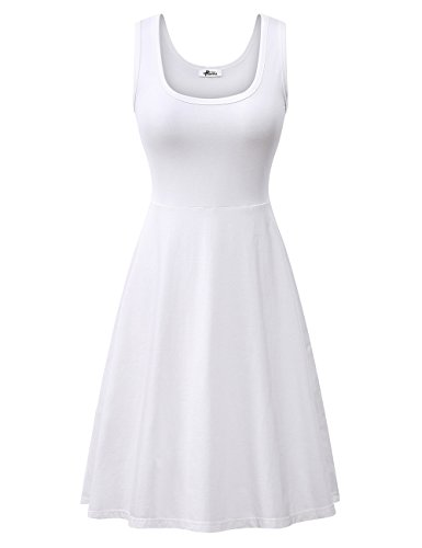 Herou Women Summer Beach Casual Flared Tank Dress (Small, White)