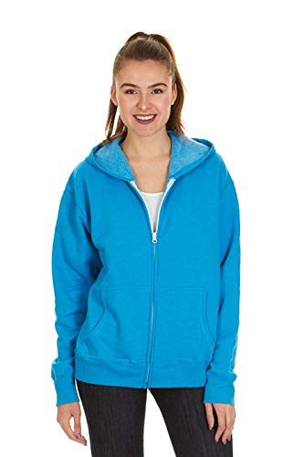 Hanes Women's Full Zip EcoSmart Fleece Hoodie, Neon Blue Heather, XL