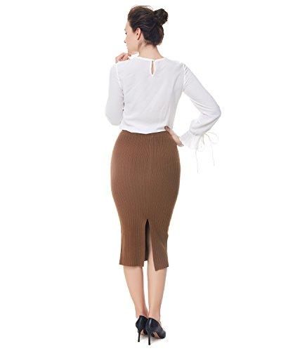 Taille Femme Haute Longue Mi Jupe Travail Tricot Caf Hiver Jupe Bureau Automne En Jupe Crayon Dcontract Kenancy qv5zxUn