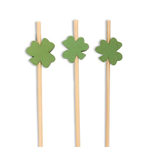 (BambooMN 5.9 Inch Decorative Green Clover Bamboo Cocktail Sandwich Fruit Swizzle Picks, Luck of the Irish Party Supplies, 100 Pieces)