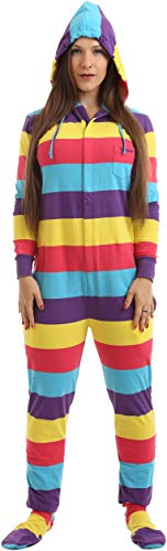 Funzee Adult Onesie Pjs Footed Pajamas Striped Playsuit Jumpsuit XS-XXL(Size by Height)