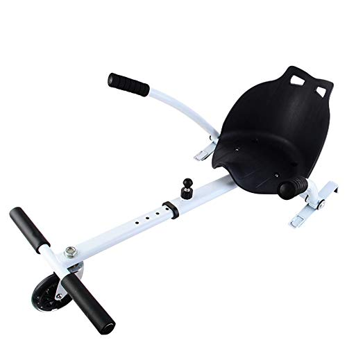 Lvbeis Hoverkart Asiento para Hoverboard Silla Kart Patinete EléCtrico Compatible Go Kart Self Balancing Scooter,White