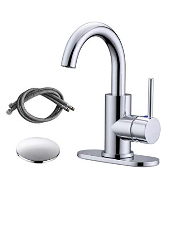 RKF Single-Handle Swivel Spout Bathroom Sink Faucet with Pop-up Drain and Supply Hose,Bar Sink Faucet,Small Kitchen Faucet Tap,Chrome Polished,BF3501P-CP (Faucet Bar Mount)
