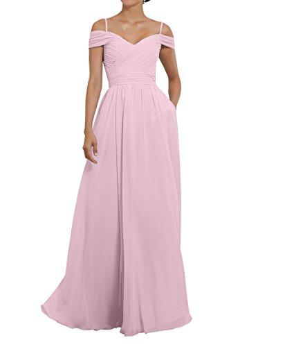 Kleider Charmant Abendkleider Elegant Brautjungfernkleider Lang mit Rosa Damen Chiffon Jugendweihe Partykleider Spaghetti Traeger 1w1q40