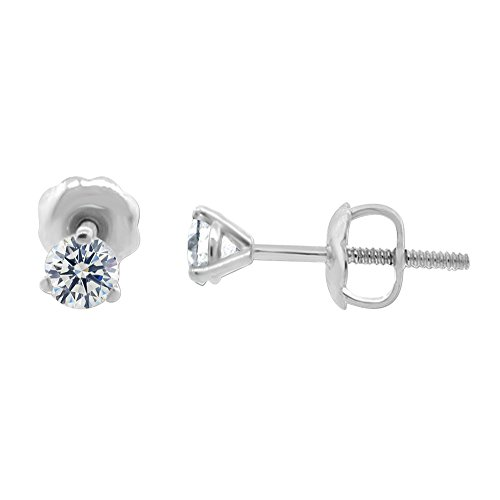 3/8 ct tw VS2 G Natural Round Diamond Stud Earrings Three Prong Setting 14K White Gold Screw Back ()
