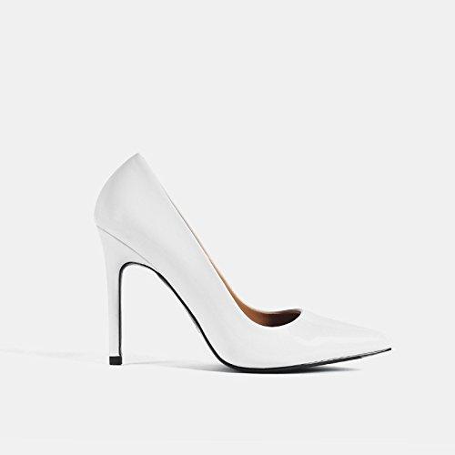 Pintada Talón GAOLIM Mujer 10Cm Zapatos Superficial Trabajo Fina De De Cm De Boca Blanco Alto 10cm De Punta Zapatos Zapatos Con De 8 Zapatos Profesional Solo De CSqqYrtx