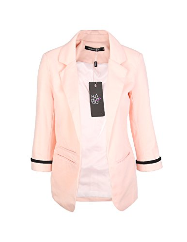 HaoDuoYi Womens Casual Work Office Boyfriend Open Front Blazer Jacket (XX-Large, Pinkish) (Boy Blazers On Sale)