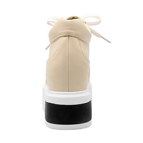 AllhqFashion Damen PU Leder Hoher Absatz Rund Zehe Rein Schnüren Pumps Schuhe Cremefarben