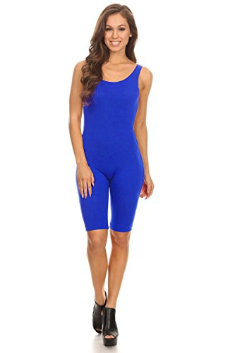 - Women Sleeveless Stretch Skinny Solid Knee Length Sport Unitard Bodysuits Active (2X-Large, Blue)