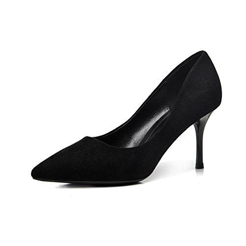 FLYRCX Punta negra zapatos de tacón elegancia única Dama zapato suede sexy delgada y zapatos de trabajo superficial Heel high 5cm