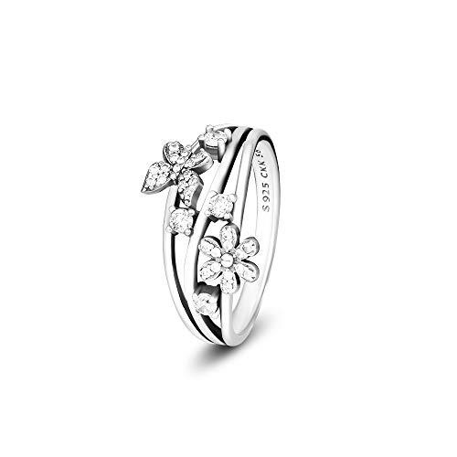 - CKK Dazzling Flower Butterflies 925 Sterling Silver Ring