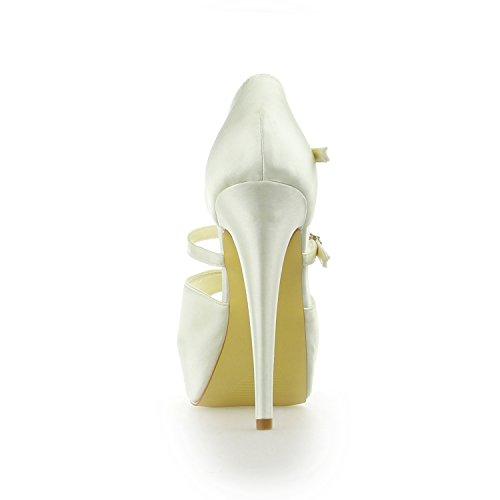 JIA JIA Damen Brautschuhe 20130 Peep Toe T-Riemen Stilett Hacke Satin Plattform Pumps Hochzeitsschuhe Beige