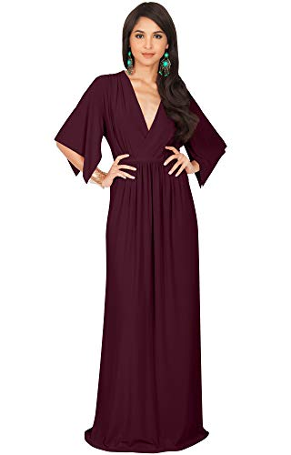 (KOH KOH Womens Long Kaftan Caftan Short Sleeve Empire Waist Flowy V-Neck Summer Bridesmaid Evening Sexy Cute Modest Maternity Gown Gowns Maxi Dress Dresses, Maroon Wine Red XL 14-16)