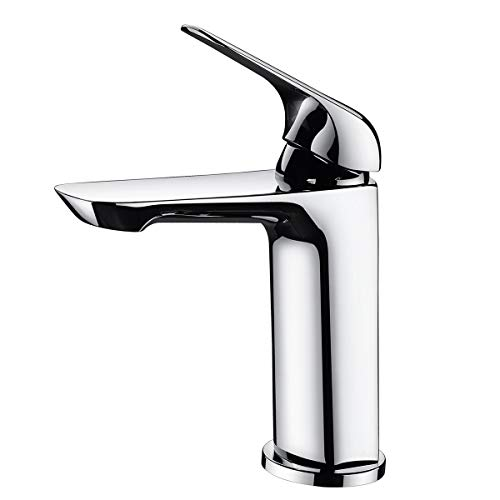 - Sanfino Single Handle Bathroom Faucet, Solid Brass One Hole Mounted Lavatory Sink Faucet, Polished Chrome Finish