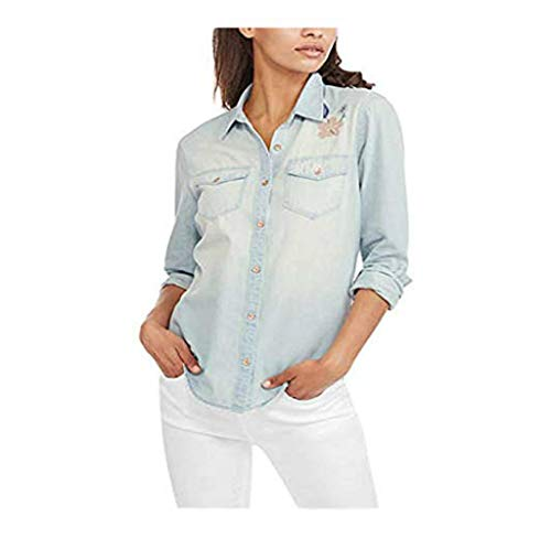 Faded Glory Women's Denim Boyfriend Woven Embroidered Button Down Shirt