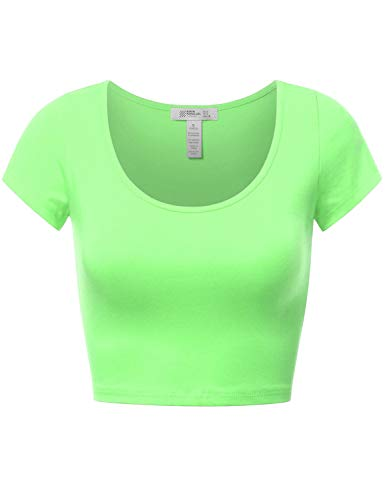 Fifth Parallel Threads Basic Short Sleeve Crop Top Lime M