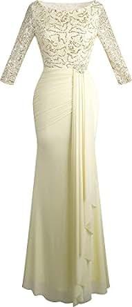 Angel fashions Women's V Neck Sequin Half Sleeves Mermaid Sheath Maxi Wedding Dress (Small, Apricot)