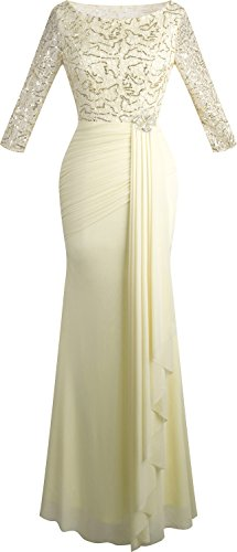 Angel-fashions Women's Boat Neck Sequin 3/4 Sleeves Pleated Draping Prom Dress ()