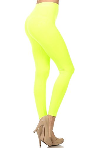Neon Nation Colored Seamless Leggings Athletic Pants Costume Party Tights (Neon Yellow)