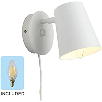 1light plugin wall sconce wall lamp bedside lamp white