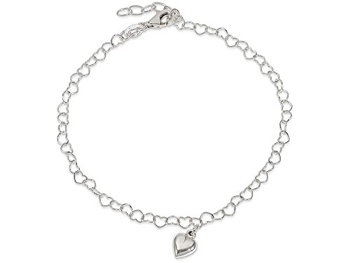 Finejewelers Sterling Silver Polished Fancy Link Puffed Heart with 1in Ext. Anklet