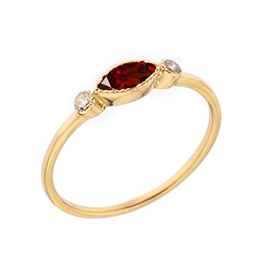 Dainty 10k Yellow Gold Solitaire Garnet and White Topaz Modern Engagement/Proposal Ring (Size 6) - Topaz Marquise Ring
