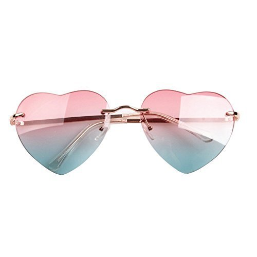 Bleu Le personnalité de Trend Peach Harajuku nbsp;Europe 8871 Cœur US et 1pièce LK Street Rose Femme Beat Soleil Lunettes pour UwfnF1xqtY