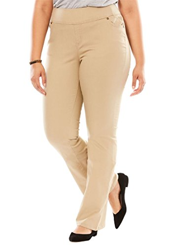 Woman Within Women's Plus Size Tall Bootcut Smooth Waist Jean Natural Khaki,28 T (Natural Waist Jeans)