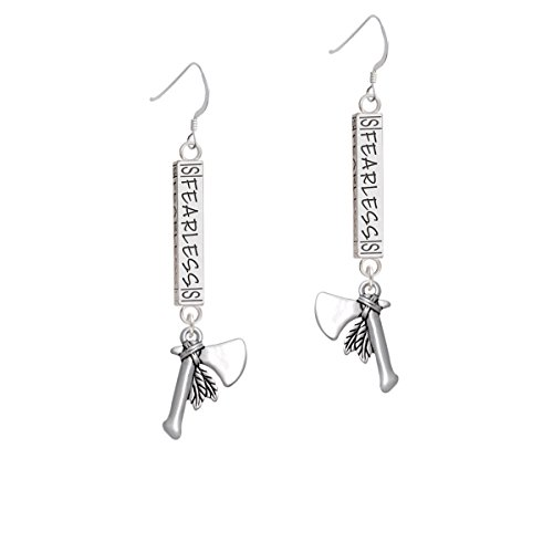 Silvertone Tomahawk with Feathers- Fearless Bar French Earring ()