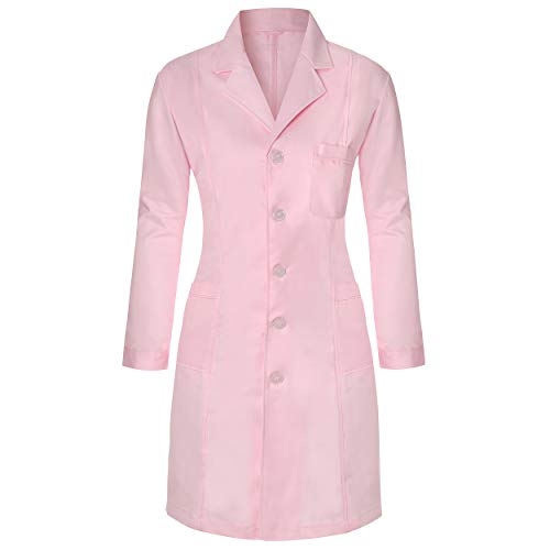 Medical Science lab Coats for Women and Men Physician Chemistry Jackets Long Sleeve, Pink, US:M -Slim fit(Label size:XL)