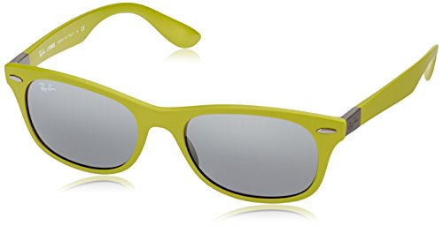 Ray-Ban INJECTED MAN SUNGLASS - MATTE ACID GREEN Frame GREY MIRROR SILVER GRADIENT Lenses 55mm - Ray Sunglasses Ban Colored